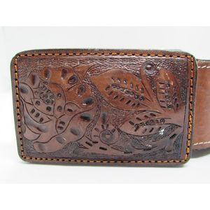 Tooled Leather Belt & Buckle Rust Brown Color